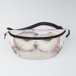Forest Owl Floral Pink by Nature Magick Fanny Pack