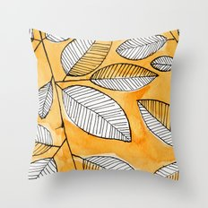 Striped leaves Throw Pillow