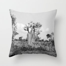 Madagascar Baobab Tree Black and White Vintage Photography Throw Pillow