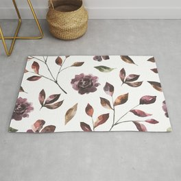Trendy Leaf and Flowers Modern Seamless Pattern Rug