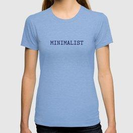 Dark Navy Blue and Silver Minimalist Typewriter Font T-shirt