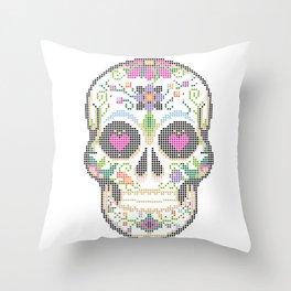 Day of the Dead, Cinco de Mayo, Calavera, Dia de los Muertos - Sugar Skull - Candy Skull Make Up Fac Throw Pillow