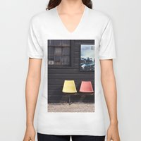 posters V-neck T-shirts featuring Seats outside Heritage Posters by RMK Photography