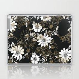 Modern black white faux gold elegant floral Laptop & iPad Skin