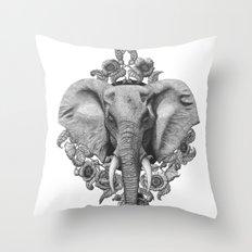 Elephant & Poppies  Throw Pillow