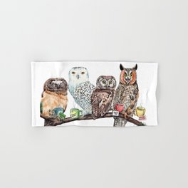 Tea owls , funny owl tea time painting by Holly Simental Hand & Bath Towel