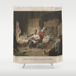 President Lincoln, writing the Proclamation of Freedom (January 1st, 1863) Shower Curtain
