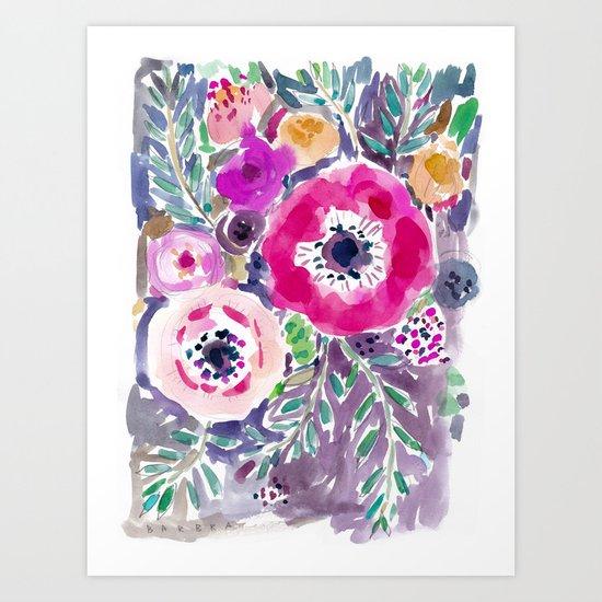 RED ANEMONE SPRAY FLORAL Art Print