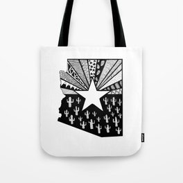 Black and White Arizona Patterned State Map Tote Bag