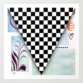 Fun Original Pop Art Abstract Checkered Racing Flag By Liane Wright Art Print