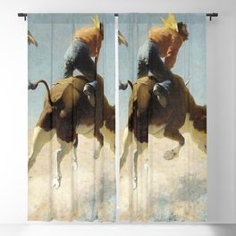 "William Leigh Western Art ""A Wild Texas Steer"" Blackout Curtain"
