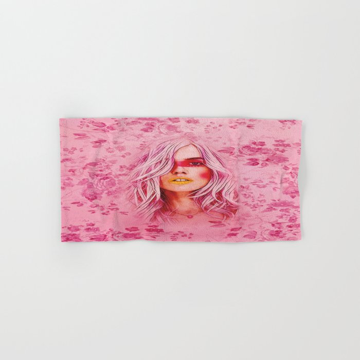 Girl with pink hair Hand & Bath Towel