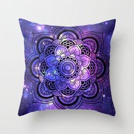 Mandala : Purple Blue Galaxy Throw Pillow