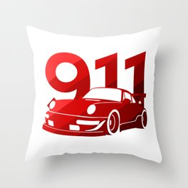 Porsche 911 - classic red - Throw Pillow