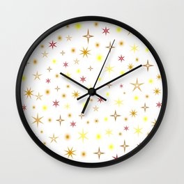 Star shapes of warm colors Wall Clock
