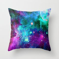 purple pink blue nebula Throw Pillow