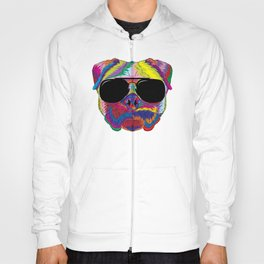 Psychedelic Pug Dog Face with Sunglasses Hoody