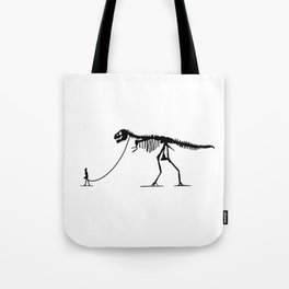 Extinct T-rex Dinosaur on leash Tote Bag