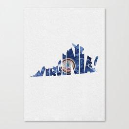 Virginia Typographic Flag Map Art Canvas Print
