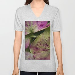 hydranjea pink and green Unisex V-Neck