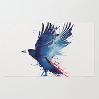 bird Area & Throw Rugs featuring Bloody Crow by Robert Farkas