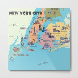 New York City Fine Art Print Retro Vintage Favorite Map with Touristic Highlights Metal Print