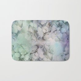 Artistic Hydrangea flowers in soft blue and purple Bath Mat