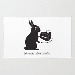 Bunnies Love Cake, Bunny Illustration, cake lovers, animal lover gift Rug