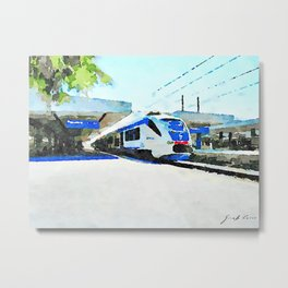 Pescara railway station: train stopped at the station Metal Print