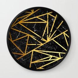 GEOMETRIC BLACK MARBLE Wall Clock