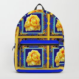 BLUE FRAMED YELLOW YELLOW GARDEN FLOWERS ART Backpack