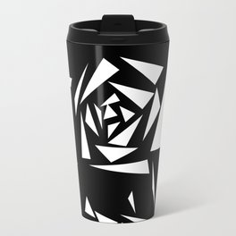 Black and white abstract pattern of Roses. Triangles .1 Travel Mug