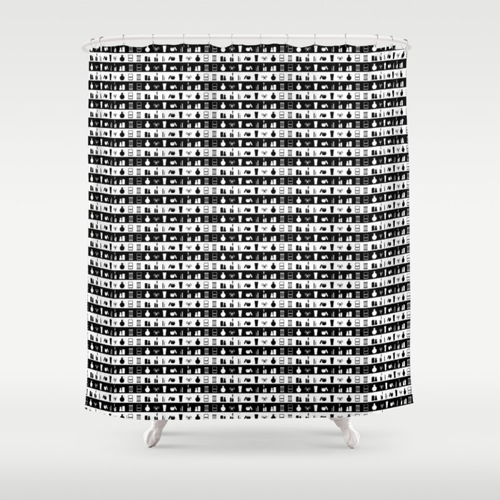 Black and White Womens Makeup Stripes Shower Curtain