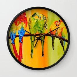 Snuggly Birds Wall Clock