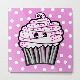 Cute Cupcake In Pink Metal Print
