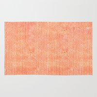 fabric Area & Throw Rugs featuring Stockinette Orange by Elisa Sandoval