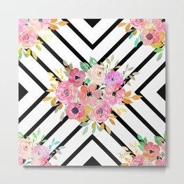 Watercolor floral and geometric diamond design Metal Print