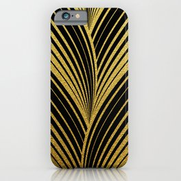 Golden leaves, gold glitter abstract waves illustration pattern iPhone Case