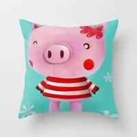 piglet Throw Pillows featuring Piglet by Gabriela Granados