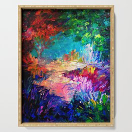 WELCOME TO UTOPIA Bold Rainbow Multicolor Abstract Painting Forest Nature Whimsical Fantasy Fine Art Serving Tray