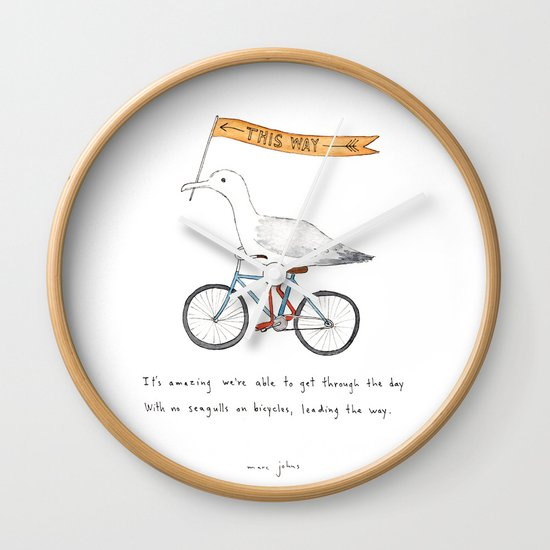 seagulls on bicycles Wall Clock