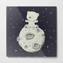 Baby Teddy Bear and Moon Print, Nursery Decor, Navy Blue, Grey Metal Print