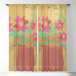 Finding My Inner Flower Power Sheer Curtain