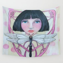 Art Deco Face and Dragonfly Wall Tapestry