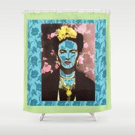 Frida Kahlo in Neon Shower Curtain