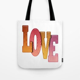 Love Word Pile of Coloured Wooden Letters Tote Bag