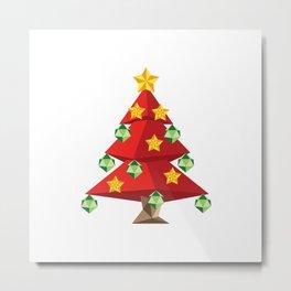 Polygonal red Christmas tree Metal Print