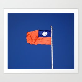 The flag of Taiwan, Republic of China against a blue sky Art Print