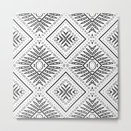 Fine black and white African ethnic batik  pattern for home decor Metal Print