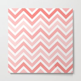 Geometrical mauve coral white modern chevron pattern Metal Print